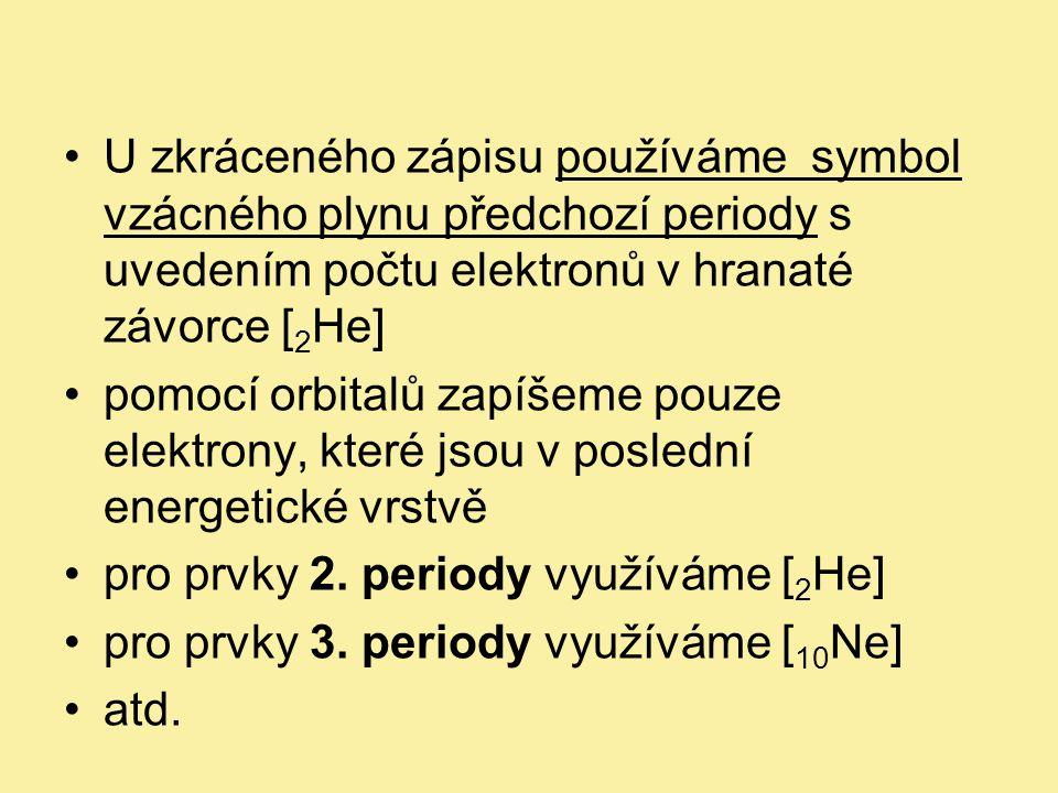 U zkráceného zápisu používáme symbol vzácného plynu předchozí periody s uvedením počtu elektronů v hranaté závorce [2He]